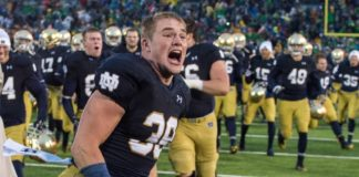 Excited Notre Dame Player